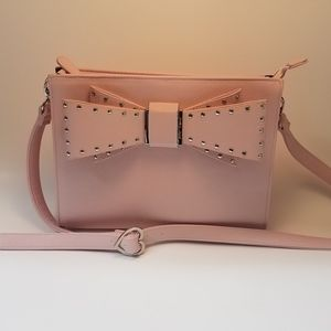Betsy Johnson Pink Studded Bow Crossover Bag